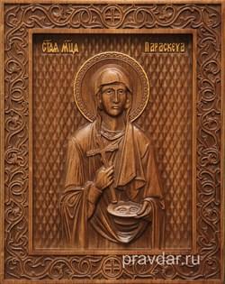 Параскева Пятница, резная икона на дубовой цельноламельной доске - фото 8829