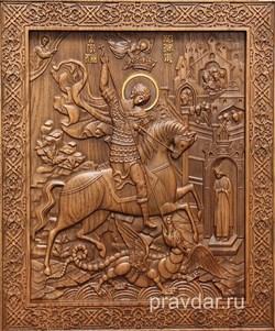 Георгий Победоносец, резная икона на дубовой цельноламельной доске - фото 8833