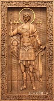 Георгий Победоносец, резная икона на дубовой цельноламельной доске (ростовая) - фото 8835