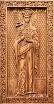 Елена Святая, резная икона на дубовой цельноламельной доске (ростовая) - фото 8845