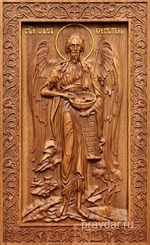 Иоанн Креститель, резная икона на дубовой цельноламельной доске (ростовая) - фото 8875