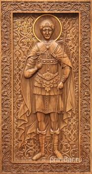 Дмитрий Солунский, резная икона на дубовой цельноламельной доске (ростовая) - фото 8882