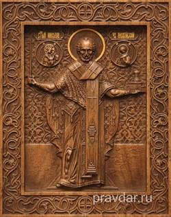 Николай Чдотворец (Можайский), резная икона на дубовой цельноламельной доске - фото 8886