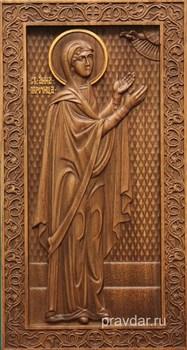 Анна Пророчица, резная икона на дубовой цельноламельной доске (ростовая) - фото 8894