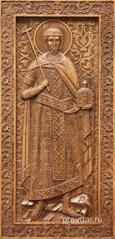 Владислав Сербский, резная икона на дубовой цельноламельной доске (ростовая) - фото 8905