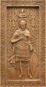 Евгений Святой, резная икона на дубовой цельноламельной доске (ростовая) - фото 8917