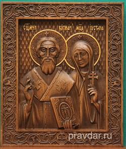 Киприан и Устиния, резная икона на дубовой цельноламельной доске - фото 8927