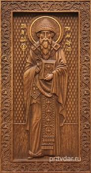 Спиридон Тримифунтский, резная икона на дубовой цельноламельной доске (ростовая) - фото 8937