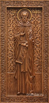 Савва Преподобный, резная икона на дубовой цельноламельной доске (ростовая) - фото 8949