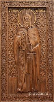 Илья Муромец, резная икона на дубовой цельноламельной доске (ростовая) - фото 8957