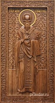 Симеон Святой, резная икона на дубовой цельноламельной доске (ростовая) - фото 8959