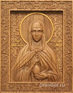 Анастасия Узорешительница, резная икона на дубовой цельноламельной доске - фото 8965