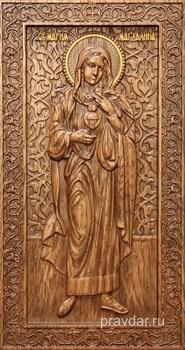 Мария Магдалина, резная икона на дубовой цельноламельной доске (ростовая) - фото 8969