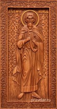Леонид Святой мученик, резная икона на дубовой цельноламельной доске (ростовая) - фото 8975