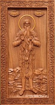 Макарий Египетский, резная икона на дубовой цельноламельной доске (ростовая) - фото 8977