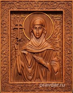 Стефанида Дамасская, резная икона на дубовой цельноламельной доске - фото 8979