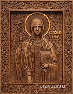 Нина Равноапостольная, резная икона на дубовой цельноламельной доске - фото 8989
