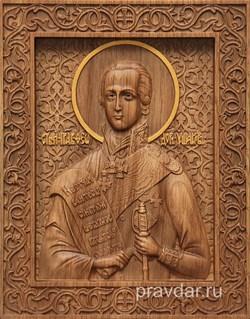 Федор Ушаков, резная икона на дубовой цельноламельной доске - фото 8993