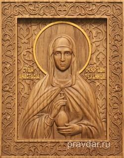 Анастасия Римская, резная икона на дубовой цельноламельной доске - фото 8996