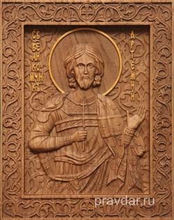 Артемий Святой Великомученик, резная икона на дубовой цельноламельной доске - фото 8998