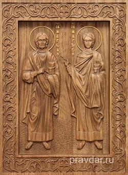Маркиан и Мартирий, резная икона на дубовой цельноламельной доске - фото 9008