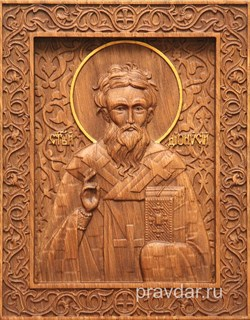 Дионисий Святой, резная икона на дубовой цельноламельной доске - фото 9032