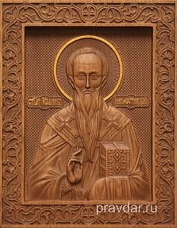Иоанн Милостивый, резная икона на дубовой цельноламельной доске - фото 9040