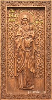 Анна Праведная (Мать Богородицы), резная икона на дубовой цельноламельной доске (ростовая) - фото 9048