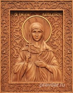 Эмилия Каппадокийская, резная икона на дубовой цельноламельной доске - фото 9052