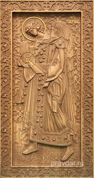 Гавриил Архангел, резная икона на дубовой цельноламельной доске (ростовая) - фото 9056