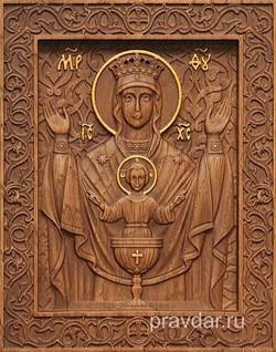 Неупиваемая чаша Божия Матерь, резная икона на дубовой цельноламельной доске - фото 9063