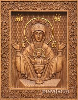 Неупиваемая чаша Божия Матерь, резная икона на дубовой цельноламельной доске - фото 9065