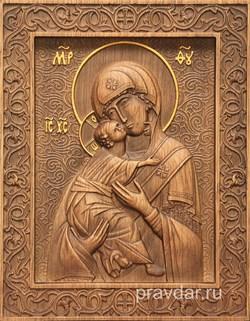Владимирская Божия Матерь, резная икона на дубовой цельноламельной доске - фото 9077