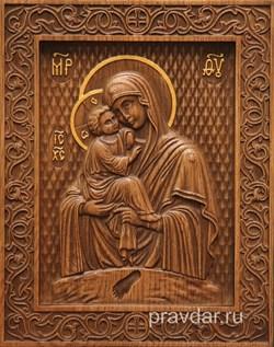 Почаевская Божия Матерь, резная икона на дубовой цельноламельной доске - фото 9083