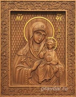 Неувядаемый цвет Божия Матерь, резная икона на дубовой цельноламельной доске - фото 9085