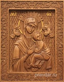 Неустанная помощь Божия Матерь, резная икона на дубовой цельноламельной доске - фото 9089