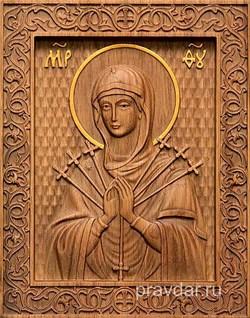 Семистрельная Божия Матерь, резная икона на дубовой цельноламельной доске - фото 9092