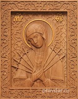 Семистрельная Божия Матерь, резная икона на дубовой цельноламельной доске - фото 9093