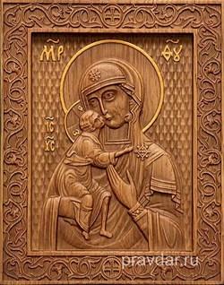 Феодоровская Божия Матерь, резная икона на дубовой цельноламельной доске - фото 9097