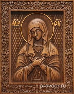 Умиление Божия Матерь, резная икона на дубовой цельноламельной доске - фото 9099