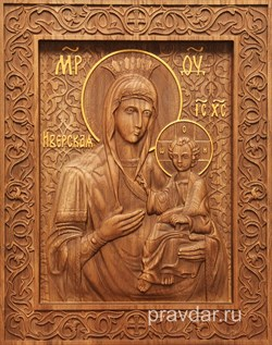 Иверская Божия Матерь, резная икона на дубовой цельноламельной доске - фото 9101