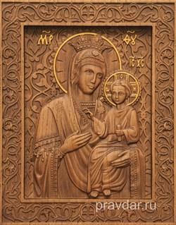 Избавительница Божия Матерь, резная икона на дубовой цельноламельной доске - фото 9109