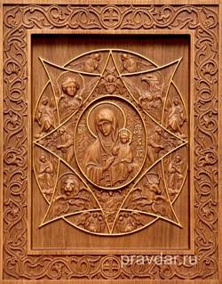 Неопалимая купина Божия Матерь, резная икона на дубовой цельноламельной доске - фото 9111