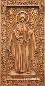 Нерушимая стена Божия Матерь, резная икона на дубовой цельноламельной доске (ростовая) - фото 9115