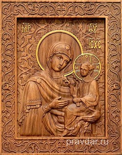 Тихвинская Божия Матерь, резная икона на дубовой цельноламельной доске - фото 9119