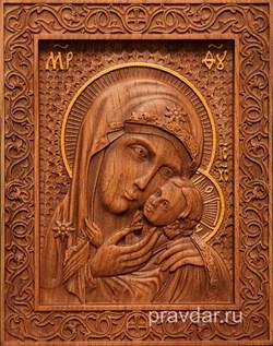 Касперовская Божия Матерь, резная икона на дубовой цельноламельной доске - фото 9123