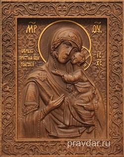 Толгская Божия Матерь, резная икона на дубовой цельноламельной доске - фото 9125
