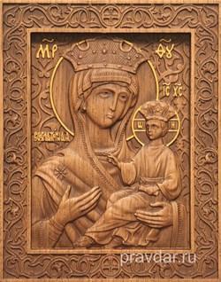 Всеблаженная Божия Матерь, резная икона на дубовой цельноламельной доске - фото 9127