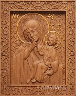 Отрада и Утешение Божия Матерь, резная икона на дубовой цельноламельной доске - фото 9129