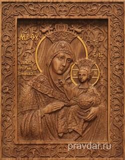 Вифлеемская Божия Матерь, резная икона на дубовой цельноламельной доске - фото 9135
